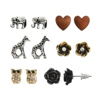 SO Elephant, Owl, Giraffe, Flower & Heart Stud Earring Set