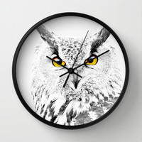 Orange Eagle Owl Eyes Wall Clock by Karl Wilson Photography