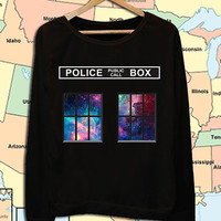 police public call box galaxy window crew neck sweatshirt pullover long sleeved
