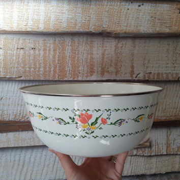 Large Enamel Bowl, White Metal Mixing Fruit Display Bowl with Silver Rim and Flowers, Vintage Sango Cookware Japan FREE US Shipping