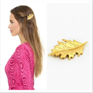 Leaf Korean Headwear Hair Accessories Gold Hair Clip Accessories = 4806947844