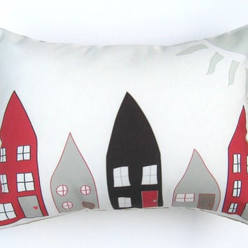 Black Red Beige Houses Pillow Cover 12 by 16 inch, Decorative Throw Pillow Cover, Cushion Cover, Sham