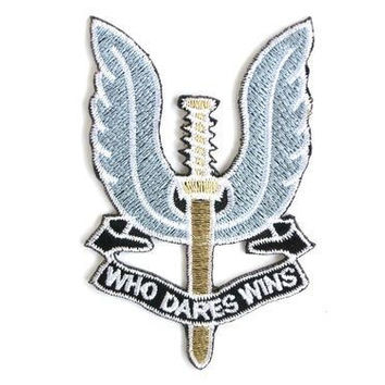 "SAS WHO DARES WINS Iron On Embroidered Patch 3.2""/8cm"
