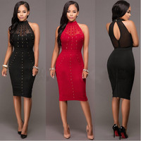 Hollow Out Halter Rivets Bodycon Knee Length Dress