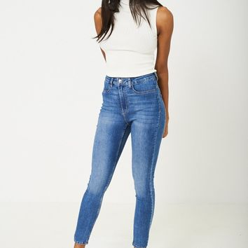 High Waist Blue Skinny Jeans Ex Branded