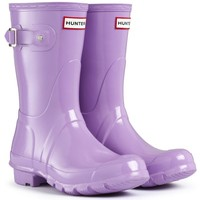 Womens Hunter Original Short Gloss Winter Festival Rain Wellington Boots - Brigth Coral - 9