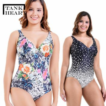Tank Heart Gradient Ramp Print Sport Plus Size One Piece Swimwear Women Swimsuit Bathing Suits Swimming Large Sizes 6XL 2 Colors