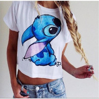 Disney Stitch Women's Trending Popular Fashion Short Sleeve Crop Top Shirt T-Shirt _ 4604