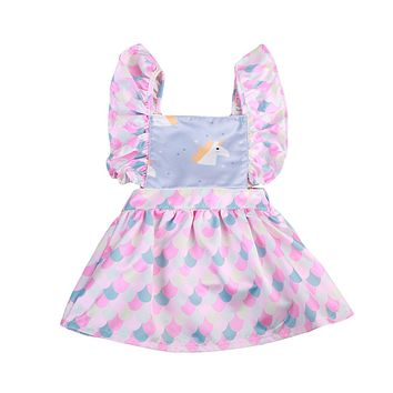 Fashion Unicorn Newborn Baby Girl Party Princess Prom Pageant Wedding Tutu Dress Cute Ruffles Sleeveless A-line Mini Dress