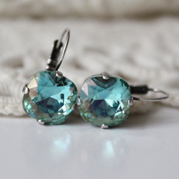 Aqua Earrings, Bridesmaid Earrings, Crystal Leverback Earrings, Cushion Cut Square Earrings, Crystal Earrings, 12mm Square, Champagne