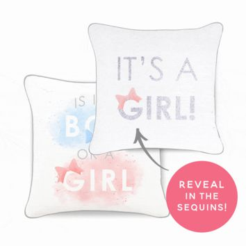 Baby Gender Reveal Pillow - Reversible Sequins Back Reveals Boy or Girl
