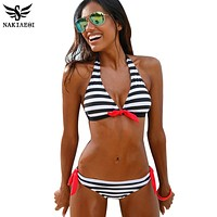 Women Stripe Brazilian Bikini Set