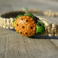 Hemp Bracelet, Sea Turtle - Macrame Tortoise Bracelet with Ceramic Bead | HempCraft - Jewelry on ArtFire