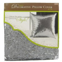 "16"" x 16"" Silver Sequin Decorative Pillow Cover 