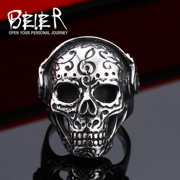 Cool Tattoo Music Skull Ring For Man Stainless Steel Unique Design Skeleton Jewelry Man Cool Gift