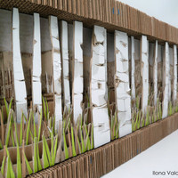 "40"" x 13""  3D Birch Tree Forest - Upcycled Cardboard"