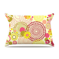 "Louise Machado ""Poa"" Yellow Red Pillow Case"