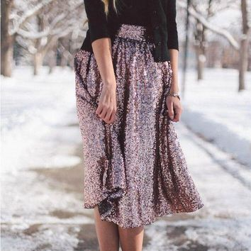 ICIKJ1A New Style Fashionable Temperament Big Swing Shiny Hot Stamping Skirt