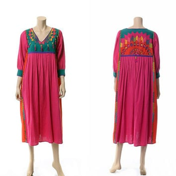 Vintage 70s Opus 1 Mexican Embroidered Caftan Dress 1970s Diana Martin Multi Colored Hippie Boho Festival Gypsy Beaded Patio Dress