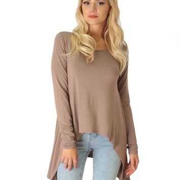 Lyss Loo Shift and Swing Long Sleeve Taupe Tunic Top