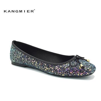 Sequin Glitter Ballet Flat Shoes Women Blue Colorful Square Toe 55c837520014