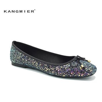 Sequin Glitter Ballet Flat Shoes Women Blue Colorful Square Toe Bow Knot Slip On Sequined ladies wedding spring autumn flats