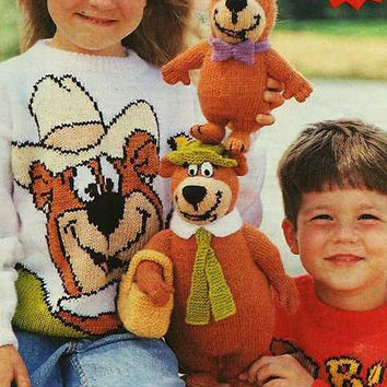 PDF instant download Knitting Pattern for Yogi Bear and Boo Boo Toys & Intarsia Sweaters size to fit 24 - 30 inch