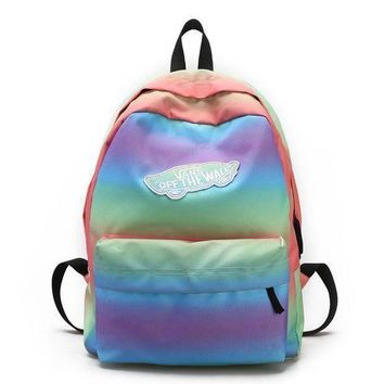 CREYUP0 Vans Casual Rainbow School Shoulder Bag Satchel Backpack