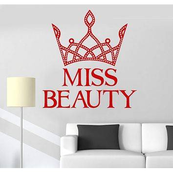 Vinyl Wall Decal Miss Beauty Crown Little Queen Girl Room Stickers Unique Gift (ig3521)