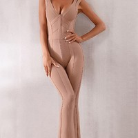 Something's Up Brown Sleeveless V Neck Wide Leg Flare Bandage Bodycon Jumpsuit