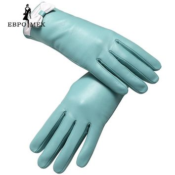 Genuine Leather glove ,gloves female ,Fashion leather gloves, warm winter Popular style gloves women Popular Light blue
