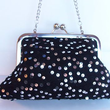 Black Lace & Shiny Sequins Kiss Lock Frame Clutch Purse Handbag Fun Holiday/Special Occasion/Party