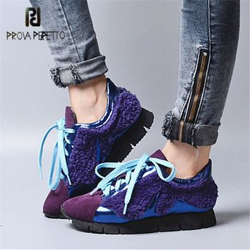 Prova Perfetto 2018 New Women Sneakers Lace Up Casual Flat Shoes Platform Creepers Female Loafers Tenis Feminino Espadrilles