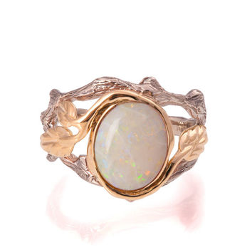 Twig and Leaf Engagement Ring - 18K Two Tone Gold and Opal ring, Unique Engagement ring, Opal engagement ring, Opal Ring, leaf opal ring, 8