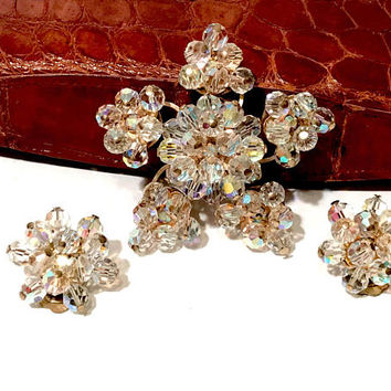 Juliana Aurora Borealis Snowflake Demi, Brooch Earring Set, Rhinestone, Crystal Beaded, Layered Multi Dimensional, Gold Tone, Vintage Gift