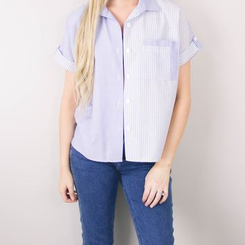 Vintage Chambray Striped Button Up Blouse