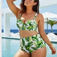 Swimsuit Summer Print Retro Bathing Suits  Push Up  Swimwear Bikinis