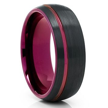 Purple Tungsten Ring - Purple Tungsten Wedding Band - Black Tungsten Ring - Brush