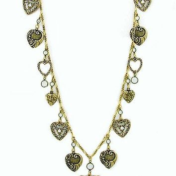 Brass Filigree Hearts Necklace