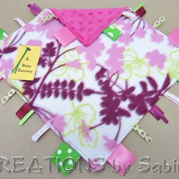 Baby Sensory Blanket, Security Lovie, Ribbon Tag Toy, pink green purple eggplant, flowers nature leaves  READY TO SHIP 163