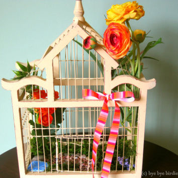 Decorative Wood Bird Cage  / Light Cream Bird Cage with Yellow and Orange Flowers / Inspirational Birdcage / Large
