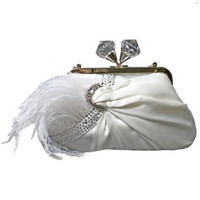 MARY FRANCES 1920's Style White Kiss Lock Aria Handbag - Unique Vintage - Homecoming Dresses, Pinup & Prom Dresses.
