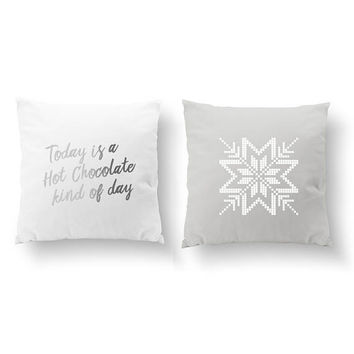 SET of 2 Pillows, Today Is A Hot Chocolate Kind Of Day, Snowflake Pillow, Livingroom Decor, Throw Pillow, Cushion Cover, Gold Pillow