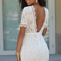 White Crochet Lace V Back Short Sleeve Bodycon Mini Dress