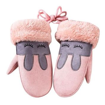 Fashion Winter baby girl boy glove cute rabbit