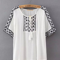 Printed Fringed Short Sleeve T-Shirt