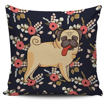 Silly Floral Pug Pillow Cover
