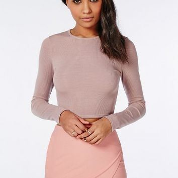 RIBBED LONG SLEEVE CROP TOP MAUVE