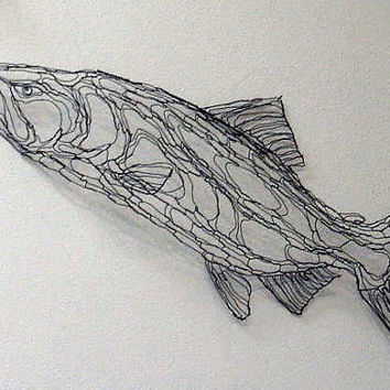 King Salmon 4ft Wire Sculpture 2D Wall Art by Elizabeth Berrien (chinook, coho, fish, trout, nature, outdors)