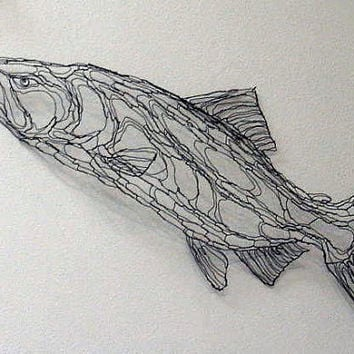 King Salmon 4ft Wire Sculpture 2D Wall Art By Elizabeth Berrien